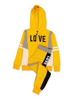 Girls 7-16 Zip Love Graphic Sweatshirt and Joggers - 1608063400084