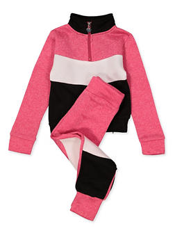 Girls 7-16 Color Block Half Zip Sweatshirt with Joggers - 1608063400085