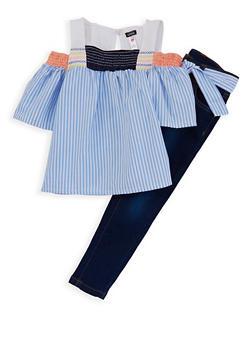 Girls 7-16 Kensie Cold Shoulder Top with Jeans Set - 1608069380014