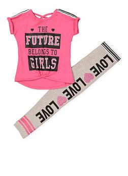 Girls 7-16 Glitter Tee and Leggings - 1608073990011