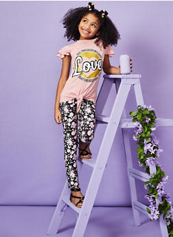 Girls 7-16 Glitter Graphic Tee and Floral Leggings - 1608073990012