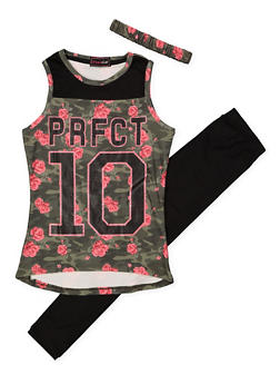 Girls 7-16 Graphic Tank Top with Leggings and Headband - 1608073990013