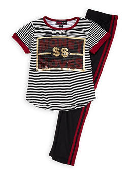 Girls 7-16 Money Moves Sequin Tee with Leggings - 1608073990017