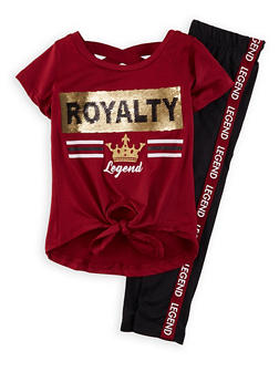 Girls 7-16 Royalty Sequin Tee with Side Tape Leggings - 1608073990020