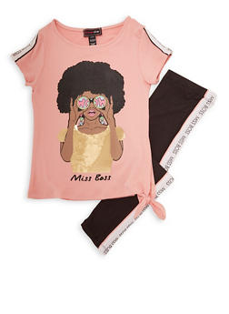 Girls 7-16 Miss Boss Sequin Graphic Tee and Leggings - 1608073990036
