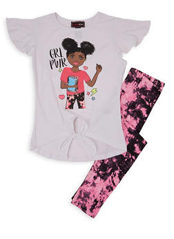 Girls 7-16 Grl Power Sequin Graphic Tee and Leggings - 1608073990038