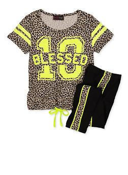 Girls 7-16 Sequin Leopard Top and Leggings Set - 1608073990040
