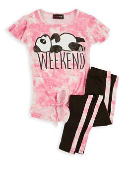 Girls 7-16 Sequin Panda Tie Dye Top with Leggings - 1608073990041