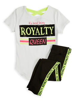 Girls 7-16 Sequin Royalty Top and Leggings - 1608073990045