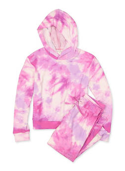 Girls 7-16 Tie Dye Hooded Top and Joggers Set - 1608075170002