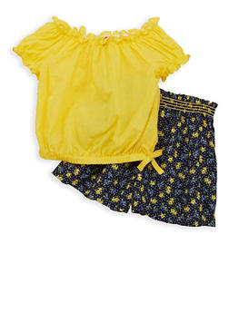 Girls 4-6x Swiss Dot Top with Printed Shorts - 1609023260041