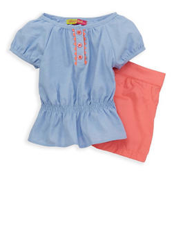 Girls 4-6x Chambray Top with Twill Shorts - 1609023260043