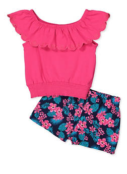 Girls 4-6x Scalloped Ruffle Off the Shoulder Top and Shorts Set - 1609023260050