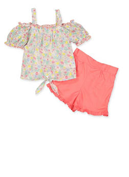 Girls 4-6x Floral Swiss Dot Top and Shorts Set - 1609023260055