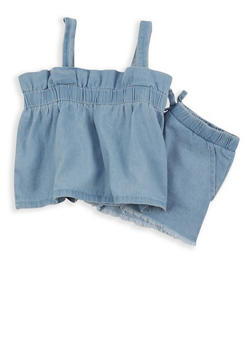 Girls 4-6x Denim Top with Frayed Shorts Set - 1609038340007