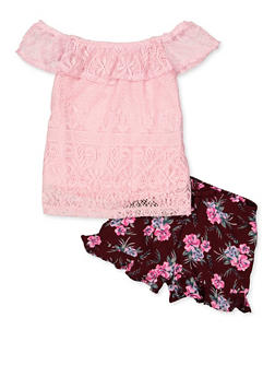 Girls 4-6x Lace Top with Ruffled Floral Shorts - 1609038340015