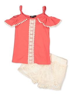 Girls 4-6x Crochet Detail Off the Shoulder Top and Shorts Set - 1609038340017