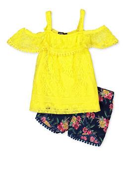 e5c36bd4e Girls 4-6x Lace Cold Shoulder Top and Shorts Set - 1609038340018