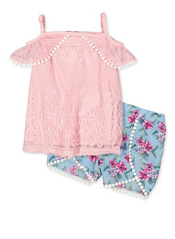 Girls 4-6x Lace Cold Shoulder Top and Floral Shorts - 1609038340019
