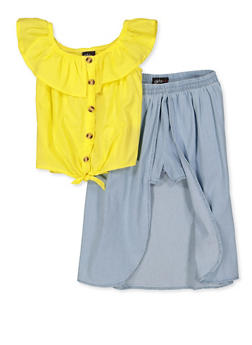 Girls 4-8 Button Front Top with Overlay Shorts - 1609038340034