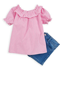 Girls 4-6x Striped Off the Shoulder Top with Denim Shorts - 1609048370022