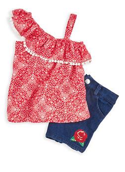 Girls 4-6x Paisley Print Top and Denim Shorts Set - 1609048370023