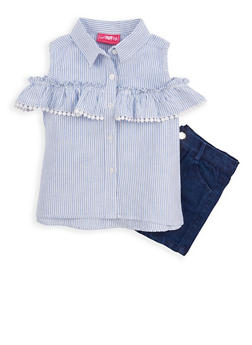 Girls 4-6x Striped Cold Shoulder Top and Denim Shorts - 1609048370027