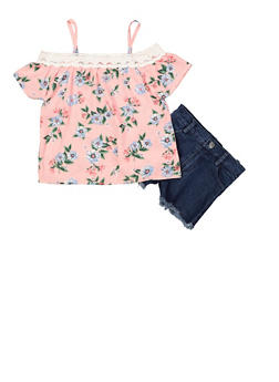 Girls 4-6x Floral Off the Shoulder Top with Jean Shorts - 1609048370035