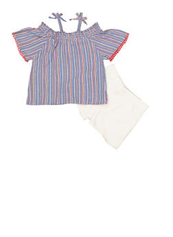Girls 4-6x Striped Off the Shoulder Top with Twill Shorts - 1609048370038