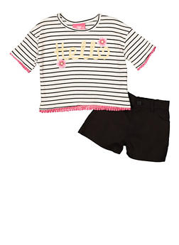 Girls 4-6x Hello Graphic Striped Tee and Shorts - 1609048370040