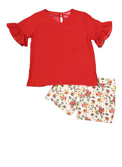Girls 4-6x Bell Sleeve Top and Floral Shorts - 1609048370041