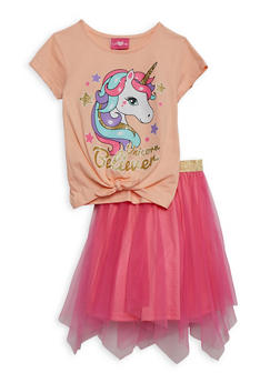 Girls 4-6x Unicorn Believer Tee and Tulle Skirt - 1609048370045
