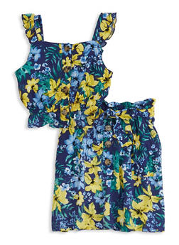Little Girls Printed Ruffle Sleeveless Top and Skirt - 1609051060066