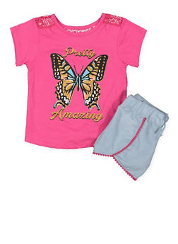 Girls 4-6x Glitter Graphic Top and Shorts Set - 1609054730030