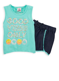 Girls 4-6x Graphic Top with Chambray Shorts Set - 1609054730031