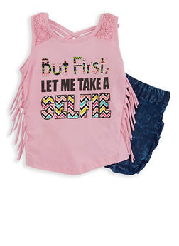 Girls 4-6x Glitter Graphic Tank Top with Chambray Shorts - 1609054730034