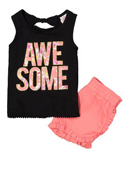 Girls 4-6x Awesome Graphic Tank Top and Shorts - 1609054730080