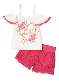 Girls 4-6x Always Beautiful Cold Shoulder Top with Shorts - 1609054730085