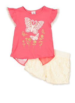 Girls 4-6x Butterfly Split Back Top and Lace Shorts - 1609054730087
