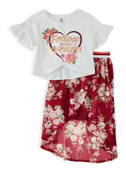 Girls 4-6x Follow Your Dreams Twist Front Top with Skirt - 1609061950017