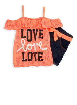 Girls 4-6x Love Graphic Top with Denim Shorts - 1609063400002