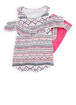 Girls 7-16 Printed Cold Shoulder Top with Bermuda Pants - 1610023130007
