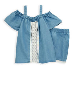 Girls 7-16 Chambray Off the Shoulder Top and Shorts - 1610023130010
