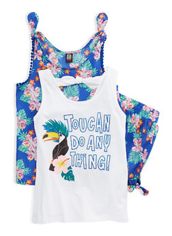 Girls 7-16 Floral Shorts with 2 Tank Tops Set - 1610023130014