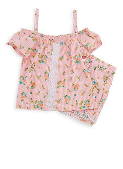 Girls 7-16 Printed Cold Shoulder Top with Shorts - 1610023130016