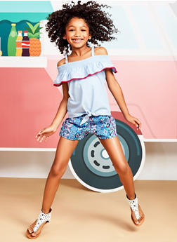 Girls 7-16 Chambray Top with Printed Shorts - 1610023260002