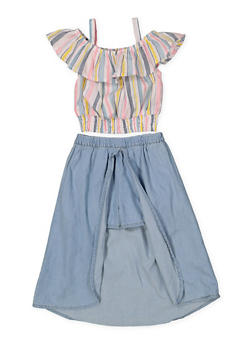 Girls 7-16 Striped Top with Denim Overlay Shorts - 1610038340023