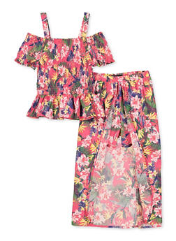 Girls 7-16 Floral Smocked Cold Shoulder Top with Maxi Shorts - 1610038340025