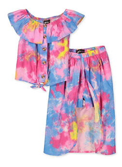 Girls 7-16 Tie Dye Off the Shoulder Top with Maxi Shorts - 1610038340026