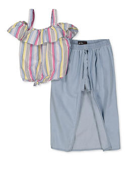 Girls 7-16 Striped Cold Shoulder Top with Denim Maxi Shorts - 1610038340027